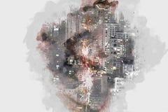 De abstracte Bouw in de stad op waterverf het schilderen achtergrond stock illustratie