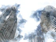 De abstracte bureausbouw in de stad op waterverf het schilderen achtergrond stock afbeelding