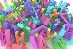 De abstracte CGI-typografie, alfabetisch karakter vertegenwoordigt brief van ABC Behang voor grafisch ontwerp 3d stapel, knoeit & royalty-vrije illustratie