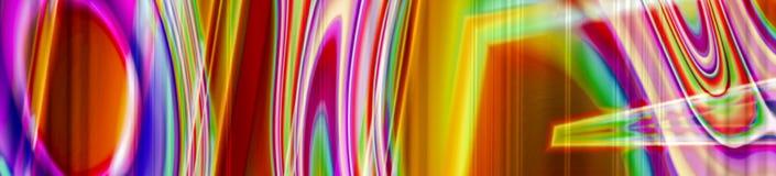 De abstracte chaotische panoramabanner met neonlicht ziet eruit royalty-vrije stock fotografie