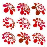 De abstracte cirkel logotype plaatste Rood gestippeld om geïsoleerde chem embleeminzameling Viruspictogram ongebruikelijke zon Bl vector illustratie