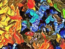 De abstracte computer stileerde decoratieve uitstekende textuur, achtergrondpatroon van grote slagen van verf, kleurrijke compute stock illustratie