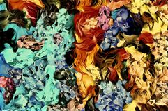 De abstracte computer stileerde decoratieve uitstekende textuur, achtergrondpatroon van grote slagen van verf, kleurrijke compute vector illustratie