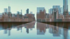 De abstracte 3D bezinningen van de de stadshorizon van Chicago 4K vector illustratie