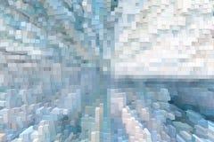 De abstracte 3d kubus drijft achtergrond, uitgedreven futuristisch uit royalty-vrije illustratie