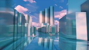 De abstracte 3D van de de stadsspiegel van Tokyo weerspiegelende gebouwen royalty-vrije illustratie