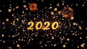 2020 de abstracte deeltjes en schitteren de kaarttekst van de vuurwerkgroet royalty-vrije illustratie