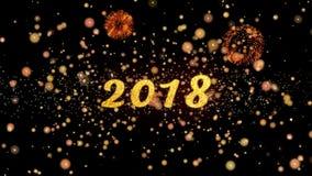 2018 de abstracte deeltjes en schitteren de kaarttekst van de vuurwerkgroet royalty-vrije illustratie