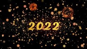 2022 de abstracte deeltjes en schitteren de kaarttekst van de vuurwerkgroet vector illustratie