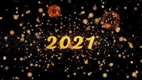2021 de abstracte deeltjes en schitteren de kaarttekst van de vuurwerkgroet stock illustratie