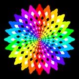 De abstracte die regenboog kleurde mandala, Bloem op zwarte achtergrond, Fractal veelkleurige bloei, Kleurrijke esoterische bloem royalty-vrije illustratie