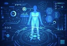 De abstracte digitale gezondheid van het concepten menselijke gegevens van de technologiewetenschap: vector illustratie