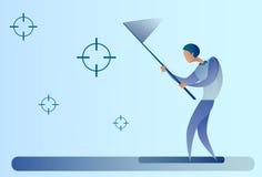 De abstracte Doelstellingen van de Bedrijfsmensenvangst met het Doelconcept van het Vlinder Netto Doel vector illustratie