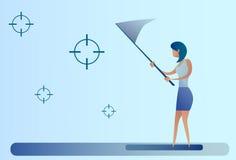 De abstracte Doelstellingen van de Bedrijfsvrouwenvangst met het Doelconcept van het Vlinder Netto Doel royalty-vrije illustratie