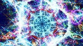 De abstracte draai van sferoïdeballen in een ijzig net stock videobeelden