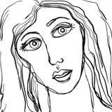 De abstracte Droevige Schets van het Gezicht van de Vrouw Royalty-vrije Stock Afbeelding