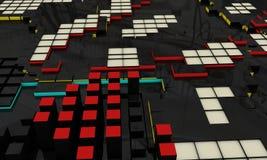 De abstracte elektronische 3d achtergrond, geeft terug Stock Afbeeldingen