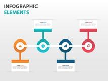 De abstracte elementen cirkel van bedrijfschronologieinfographics, vlakke het ontwerp vectorillustratie van het presentatiemalpla Royalty-vrije Stock Fotografie