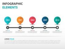 De abstracte elementen wegenkaart van bedrijfschronologieinfographics, vlakke het ontwerp vectorillustratie van het presentatiema