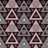 De abstracte etnische naadloze geometrische achtergrond van patroon heldere elementen Stock Afbeeldingen