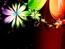 De abstracte Fractal van de Regenboog Donkere Achtergrond van de Bloem Stock Foto