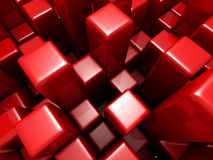 De abstracte Futuristische Rode Achtergrond van de Kubussenstroom Stock Afbeeldingen