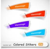 De abstracte gekleurde stickerreeks Stock Foto