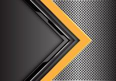 De abstracte gele grijze richting van de kringspijl met lege ruimte op van het het netwerkontwerp van de metaalcirkel moderne de  stock illustratie