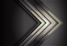 De abstracte gele lichte richting van de machts grijze pijl op van het het netwerkontwerp van de metaalcirkel de technologie futu stock illustratie