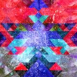 De abstracte geometrische achtergrond van de waterverfkleur royalty-vrije illustratie