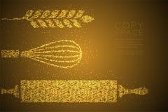 De abstracte Geometrische Bokeh-Deegrol van het het pixelpatroon van de cirkelpunt, zwaaien en de Tarwevorm, gouden de kleurenill vector illustratie