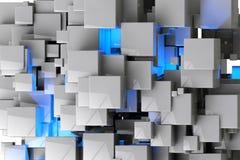 De abstracte geometrische 3d kubussenachtergrond geeft terug Stock Afbeelding