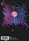 De abstracte geometrische kubus drijft op grafische achtergrond uit vector illustratie