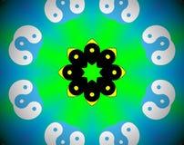 De abstracte gezichten van de mandalaillustratie yin yang royalty-vrije illustratie