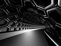 De abstracte glanzende achtergrond van de zwart gatentunnel Stock Foto