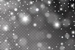 De abstracte glanzende witte die sneeuw, de fonkelingen en de gloed voeren patroon uit op transparante achtergrond wordt geïsolee royalty-vrije illustratie