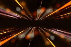 De abstracte Gloed van de Lens het conceptenbeeld van ruimte of de tijd reist achtergrond over donkere kleuren en verstralers Royalty-vrije Stock Afbeeldingen