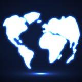 De abstracte Gloeiende Kaart van de Wereld Royalty-vrije Stock Afbeeldingen