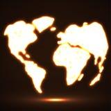 De abstracte Gloeiende Kaart van de Wereld Royalty-vrije Stock Foto