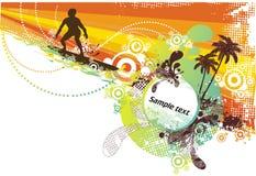 De abstracte golven van de zomer surfing& Stock Fotografie