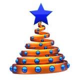 De abstracte gouden blauwe ballen en de ster van de Kerstboomdecoratie stock illustratie