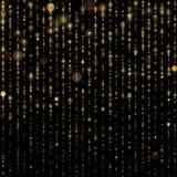De abstracte gouden fonkeling glanst lichte confettien bokeh op schitterende zwarte achtergrond De textuurmalplaatje van de luxef vector illustratie