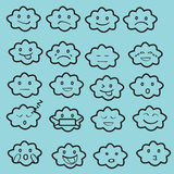 De abstracte grappige vlakke het pictogramreeks van stijlemoji emoticon, betrekt blauwe zwarte, Stock Afbeeldingen