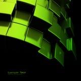 De abstracte groene achtergrond van metaalkubussen Stock Afbeelding