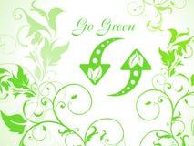 De abstracte groene bloemenachtergrond met verfrist pictogram Stock Afbeelding
