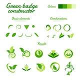 De abstracte groene vectoraannemer van het milieuembleem Stock Foto