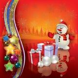 De abstracte groet van Kerstmis met sneeuwman royalty-vrije illustratie