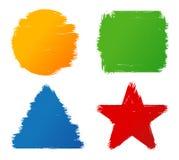 De abstracte grungehand schilderde de kleurrijke vormen van de borstelslag Stock Afbeeldingen