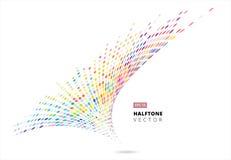 De abstracte halftone spiraalvormige regenboog stippelt patroonperspectief, onweer Stock Afbeelding