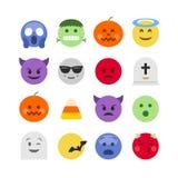 De abstracte Halloween-inzameling van het emojipictogram stock illustratie